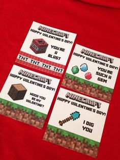 Minecraft Valentine's Day Party Cards DIY by MinecraftPartySolved