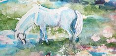 White Horse Art  Sugar  in the Apple Orchard by CheyAnneSexton, $35.00