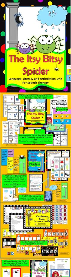 $ Spider fun! Huge Itsy Bitsy Spider Unit book companion for The Itsy Bitsy Spider by Keith Chapman as well as the traditional song and fingerplay. By a speech language pathologist. Printables, activities & lesson plan including circle time, art activities, you tube links, snack ideas, 4 learning games and much much more #spider #autumn #Halloween #speech pathology #language #TpT #Teachers pay Teachers #preschool #kindergarten #therapy