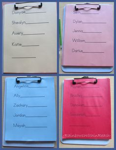 Clipboard Sign in System for Morning check-in, Preschool