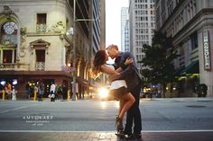 city streets at night engagement session http://www.amykarp.com