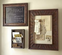 Find random frames from garage sales paint or finish them in all the the same color/finish.  Apply chalkboard paint, cork, burlap, and  magnetic paint, and VOILA, ya have your own Pottery Barn Hack of their  Architectural Home Office #potterybarn