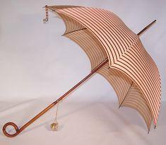 Edwardian Ecru Linen Red Silk Stripe Carved Wood Handle Summer Parasol
