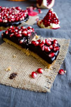 No-Bake Chocolate Pomegranate Tart | giverecipe.com | #tart #chocolate #pomegranate