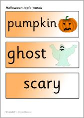 Halloween topic word cards (SB6033) - SparkleBox