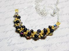 Cosmos Astronomy Blue Goldstone Swarovski Necklace  by WhimsyBeading, $35.00