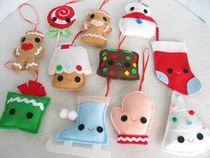 so cute, felt ornaments for the kids mini xmas tree