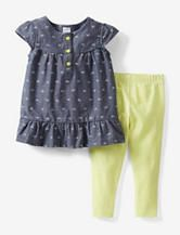 Carter's® 2-pc. Bow Print Chambray Tunic & Leggings Set – Baby 12-24 Mos.