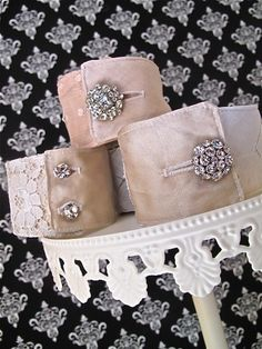 Wedding wristie cuff bracelets vintage linens silks by KimHerring, $160.00