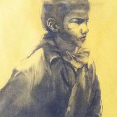 Little Indian Boy Nat Geo charcoal sketch by Yuet Mee Leow