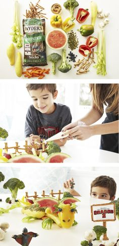 Little one obsessed with How To Train Your Dragon? Create a playful dragon land with fresh fruits and vegetables, pretzels and pepitas. Use a paring knife to shape wings and claws. Toothpicks and peanut butter hold it all together. Perfect for a dragon-themed b-day party.
