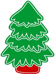 Retro style Christmas tree stencil clip art image and die cut template.