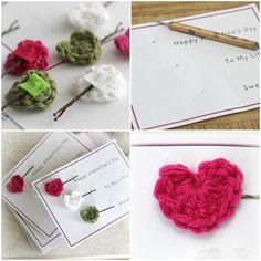 girl hair, heart bobbi, bobbi pin, girl gifts, crochet hearts, bobby pins, valentine ideas, crochet crafts, little gifts