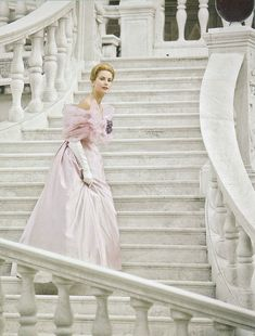 Princess Grace Kelly of Monaco wearing a creation of Maggie Rouff and photographed by Conant on the Palace in Monaco for French Vogue,in 1959.