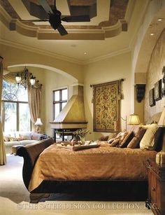 Casa Bellisima - Mediterranean Home Plans - Home Plan Styles - Sater Design Collection Plans - put Window storage seat for bed pillows where the couch is