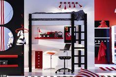 Cama alta, decoración blanco, negro, rojo