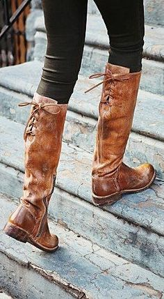 Brown Leather Tie Back Boots ♥