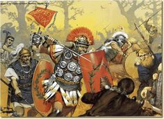 Artist's concept of the Battle of Teutoburg Forest, described as 'Clades Variana' (the Varian disaster) by Roman historians, took place in 9 CE, when Germanic tribes led by Arminius of the Cherusci decisively destroyed three Roman legions, led by Publius Quinctilius Varus. Despite numerous successful campaigns by the Roman army in the years after the battle, they never again attempted to conquer Germania territory east of the Rhine River.