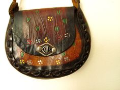 ♥ TOOLED LEATHER ♥ 1970s Painted Floral Bohemian Purse by LolaVintage on Etsy. http://etsy.me/17nuYSS