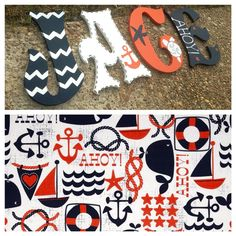 Hand painted Nautical letters/ Blue and Orange on Etsy, $9.50