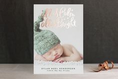 Foil pressed holiday cards at Minted made just for a new holiday-time baby. Sweet!