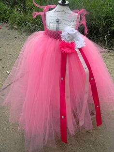 BIRTHDAY PRINCESS - Hot Pink Spring Flower Girl, Birthday Princess Tutu Tulle Empire Dress W/ Flowers and ribbon 12M - 4T Toddler/Girl/Baby