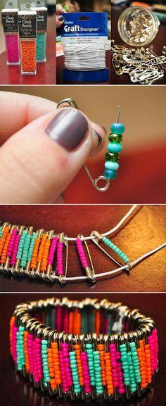 My DIY Projects: Diy Beaded Safety Pin Bracelets