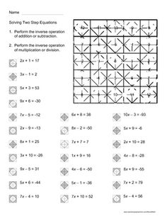 Solving Two Step Equations Color Worksheet NA