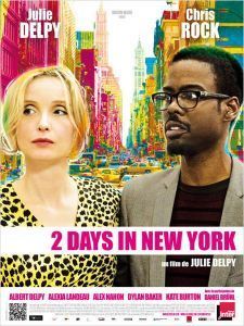 """2 DAYS IN NEW YORK, a 2012 film co-written and directed by Julie Delpy; the sequel to her 2007 film 2 Days in Paris. Marion has moved from Paris to New York, bringing her son but leaving the boy's father behind. She and her new boyfriend Mingus (Chris Rock) have a cozy relationship until the arrival of Marion's father, sister and sister's boyfriend, on vacation from France. The group's 2 days together are tested by """"unwitting racism and sexual frankness,"""" with no one left unscathed."""