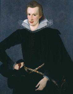 Man in a Slashed Black Doublet, attr. Sir William Segar, ca. 1605; TC T03576