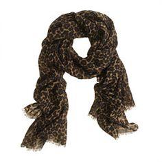 Animal-print wool scarf