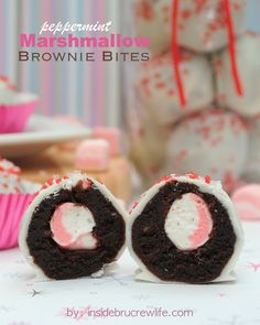 Peppermint Marshmallow Brownie Bites