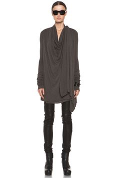 RickOwens Lilies draped top in dark dust.