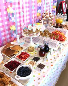 Pancake Bar & Brunch Party - Pancake or waffle bar would be cute (could always use frozen waffles to make life easy) and the yogurt parfaits as well baptism, brunches, waffle bar, pancake party, food, breakfast buffet, brunch party, brunch parti, bridal showers