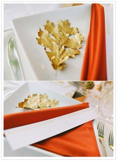 gold painted leaf place card