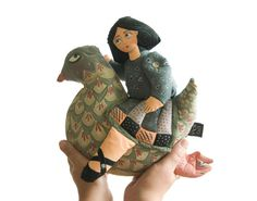 Primitive DollGirl with a heart riding a bird Valentine's by lolka, $135.00