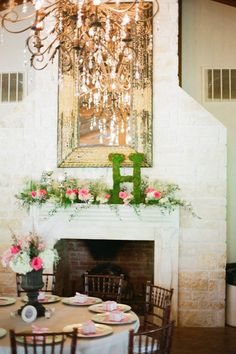 I love the moss monogram on the mantle for wedding decor!