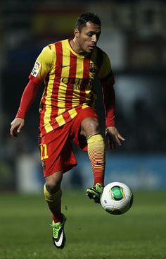 Adriano Correia of Barcelona controls the ball during the Copa del Rey, Round of 32 match between FC Cartagena and FC Barcelona at Estadio Cartagonova on December 06, 2013 in Cartagena, Spain.