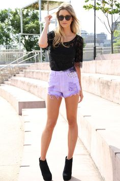 LOVE these lilac high waisted shorts