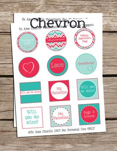 Printable Valentines Day Cupcake Toppers - Valentines Day - Valentine Cupcake Toppers - Chevron Cupcake Toppers - Black Cupcake Toppers. $1.50, via Etsy.