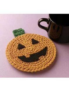 Pumpkin Coaster  Free crochet pattern