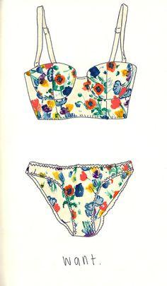 fashion sketches, floral illustration, bikini, print