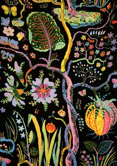 """""""Hawaii"""", Josef Frank - textile, 1940s (used as an accent wall covering here: http://tiltonfenwick.com/2011/10/wallpaper-weekly-no-7-josef-frank/ )"""