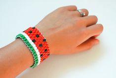 DIY Watermelon Bead Bracelet Free Pattern - Handmade Charlotte