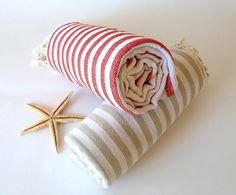 SALE, Turkish Towel, Peshtemal, Bath, Beach towel, Hammam towel, Spa Towel, yoga, Set of 2 towels,  Light Brown and Red