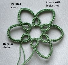 how to make a pointed chain #tatting #tatted #tat #lace