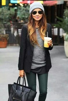 Love the look! Beanie, blazer, vest, bag, sunglasses... All makes a great combo!