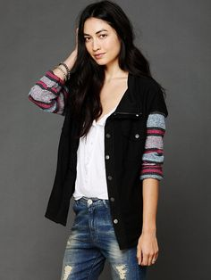 Free People Baja Stripe Sleeve Jacket at Free People Clothing Boutique