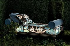 Day bed chaise lounge featuring midnight garden moon blossom fabric beacon hill robert allen dark coloured