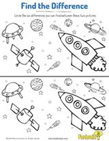 What's missing? Challenge kids to spot the differences in these two space scenes. #prek #earlylearning #printables